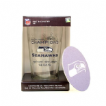 Seattle Seahawks Super Bowl XLVIII Champions Commemorative 16-Ounce Pint Glass & 4 Coasters Gift Set